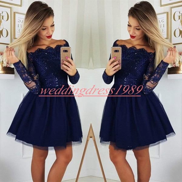 Elegant Long Sleeve Lace Homecoming Dresses for Juniors Applique Plus Size Short Prom Dress Party Ball Gowns Graduation Club Wear Cheap