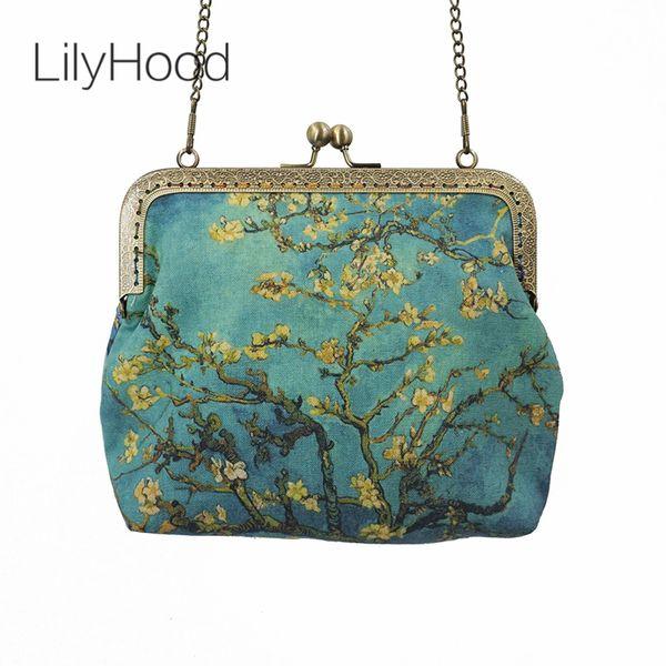 Ele LilyHood 2018 Feminino Pintura A Óleo Impressão Kiss Lock Crossbody Vincent Van Gogh Cadeia de Arte Inspirado Personalizado Bolsa de Ombro