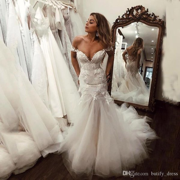 2019 Sexy Backless sirène mariage avec dreses Longueur épaules au sol Taille Plus dentelle robe de mariée noiva Robe