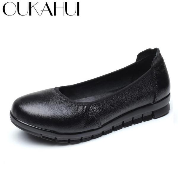 OUKAHUI simple ressort en cuir véritable plat de travail Chaussures Femme Ballerines solide bout rond non-Slip doux Mesdames confortables