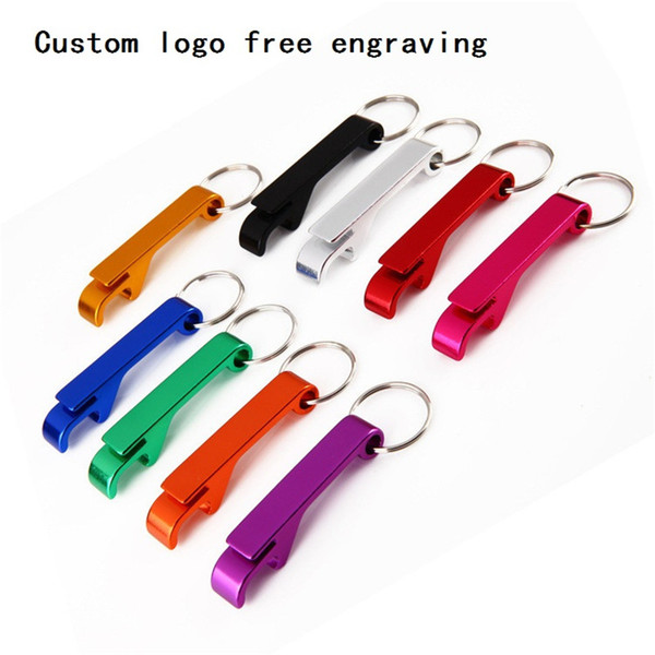 500pcs Free Laser Engraving Bottle Opener Keychain Rings Custom Logo Metal Key Chain Bottle / Can Openers Promotional Gift Item