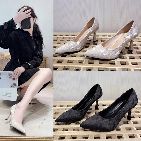 En punta del dedo del pie de la moda de deslizamiento zapatos de mujer superficial en francés chica delgada de tacones altos señoras de la oficina de vestir de trabajo bombas breve cómodo atractivo 2020