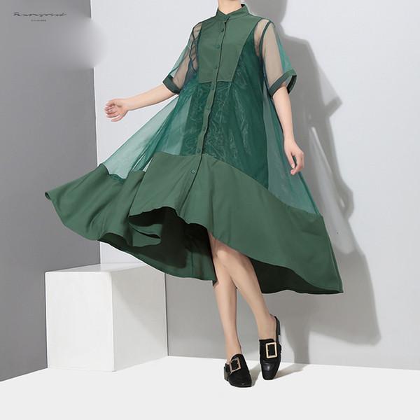Stile coreano Due Dress pezzi set Donne Verde Midi Trasparente Mesh Robe con la maglia del partito della signora Sexy Dress Femme 2564