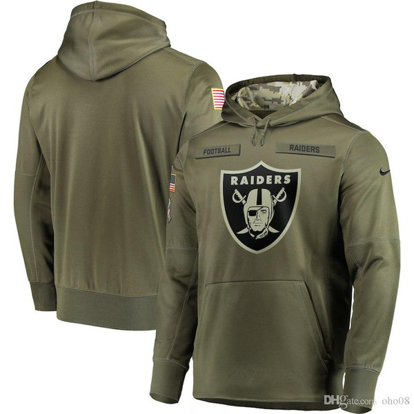 Hommes OaklandRaiders Sweat-shirt Olive Salut au service Sideline Therma Performance Pull à capuche