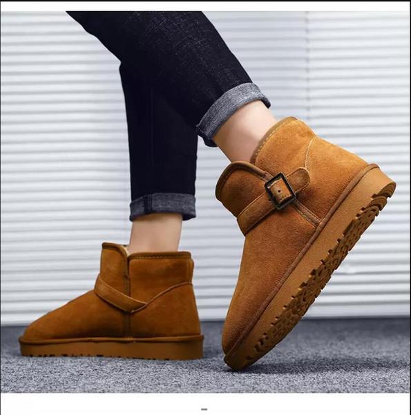 2019 Yeni erkekler kadınlar botlar kahverengi kestane siyah gri kış patik diz ayak bileği sıcak botlar rahat kaliteli daireler ayakkabı 36-45