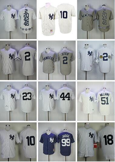 Yankees de encargo Jersey camisetas de béisbol 99 Aaron Juez Jersey 25 GLEYBER TORRES 2 Jeter York 3 Ruth Mariano Rivera 42 7 Manto Williams
