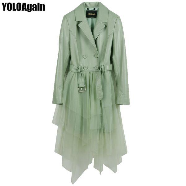 5 Cores mulheres casaco de couro genuíno senhoras longo real trincheira de malha de retalhos de malha assimétrica