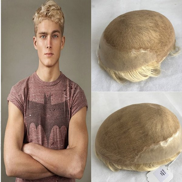 613 Blonde Toupee Hairpiece French Lace Toupee For Men Lace Front With Thin Skin Poly Mens Toupee Replacement System Human Hair Men Wig