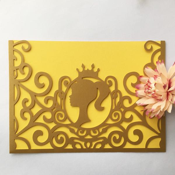 12 Шт. / Лот Полый Лазерная Резка Сладкая Королева Свадебные Приглашения Изысканный Конверт Обручальные Празднования Дня Рождения Приглашения Поставки