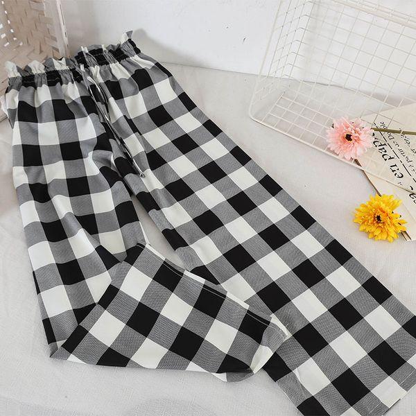 2019 printemps mode femmes pantalons à carreaux polka Dot pantalon à jambe large été longueur de la cheville femme casual lâche taille haute pantalon