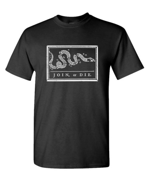 JOIN OR DIE usa american patriot defend - Cotton Unisex T-Shirt Funny 100% Cotton T Shirt Tees Custom Jersey t shirt
