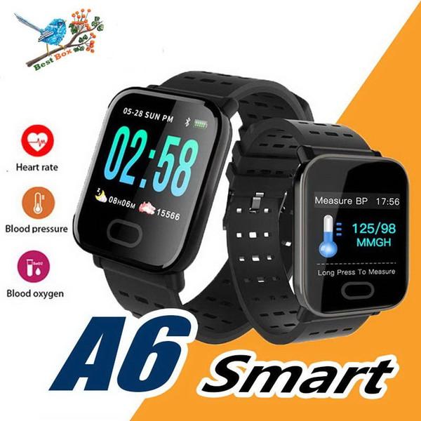 A6 Bileklik Akıllı İzle Dokunmatik Ekran Kan Oksijen Boold Basıncı Nabız Açık Spor Koşu Kalori Akıllı Saatler