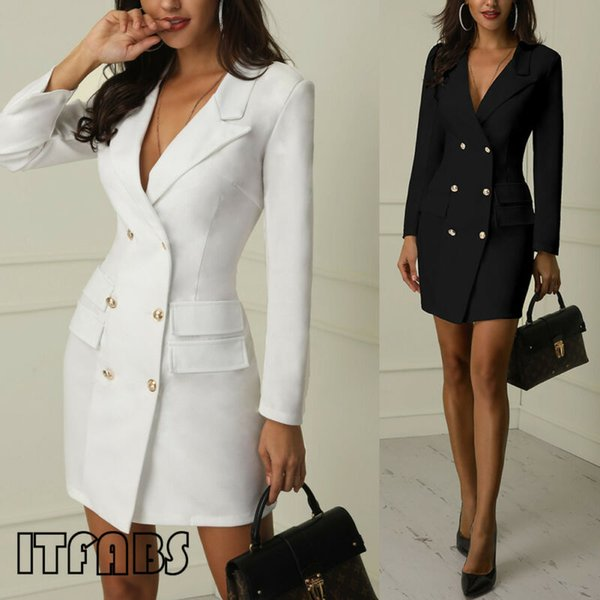 Fashion Women Solid color Short Bodycon Lapel Blazer Double Breasted Long Sleeve V-neck Work Dress