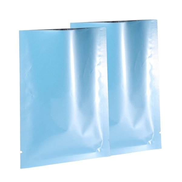 5x8cm (2x3in) 100pcs bleu brillant thermoscellage plat bleu métallique Mylar Open Top Sacs w / Tear Notches
