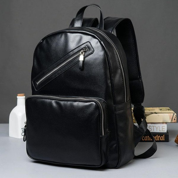 brand pack fashion leather Student Backpack outdoor leisure high quality leather travel backpack business zipper hit man Backpack