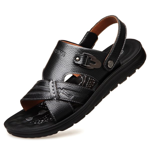 2019 comfortable casual men's sandals high quality leather casual beach shoes leather open toe sandals and slippers men