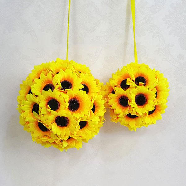 Düğün Yapay İpek Ayçiçeği Öpüşme Topu Çiçek Pomander Buket Topu Ev Dekoratif Toplar B88