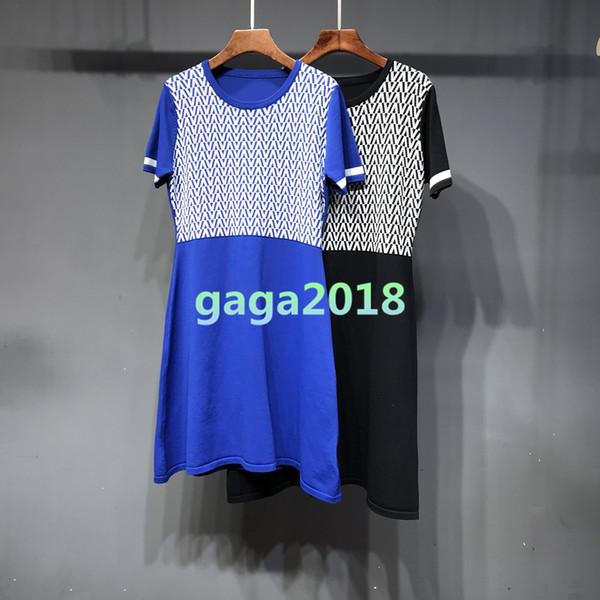 Yeni Kadın kızlar kısa kollu elbise yaz Kazak siyah mavi gömlek tees örgü üst uzun gömlek elbise kadın jakarlı ince üst bluz t-shirt