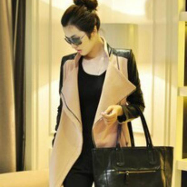 Женщина Шерстяное Пальто Шить Осень и Зима женская Черный Серый Хаки Цвет Большой Размер Одежды Молния Модные Куртки-я11