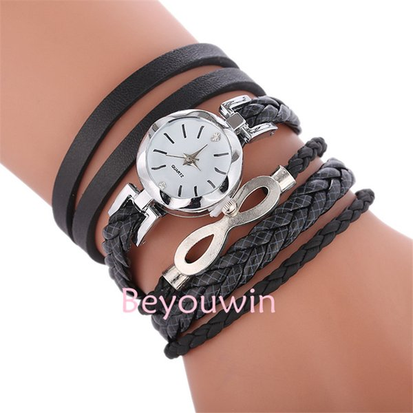 100pcs/lot fashion mini belt wrap around watch for women infinity pendant pendant crystal lady bracelet leather watch for girl