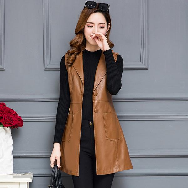 Lederweste Frauen lange schlanke 2019 Herbst neue Lederjacke Frauen Oberbekleidung Mode plus Größe Mantel weibliche Kleidung schwarz