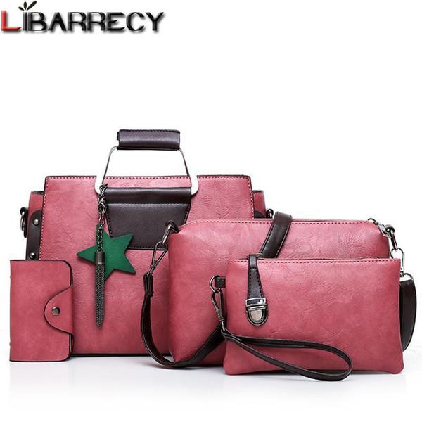 Fashion 5 Psc/set Metal Handle Womens Handbags Tassel Rivet Women Bag Brand Shoulder Bag Female Lady Leather Tote Wallet Nice