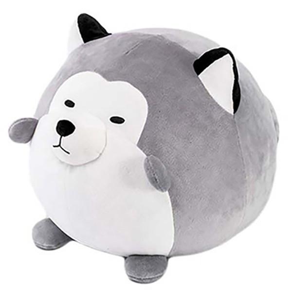 Round Husky Pillow Plush Toy Dolls For Soft Cotton Plush Husky Doll Toy Kids Sleeping Back Cushion Cute Stuffed Dog Kawaii Ani