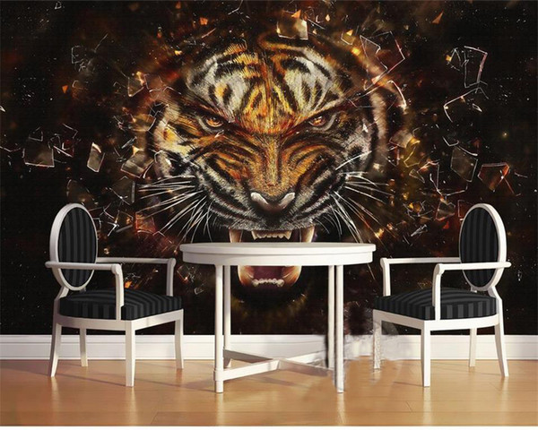 custom size 3d photo wallpaper living room bed room mural tiger picture oil painting mural sofa TV backdrop wallpaper non-woven wall sticker