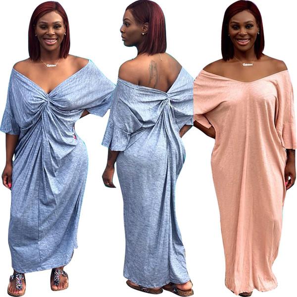 Gevşek kısa kadın dress casual katı one piece maxi elbiseler pembe gri twisted geri tasarım yaz tatil plaj dress