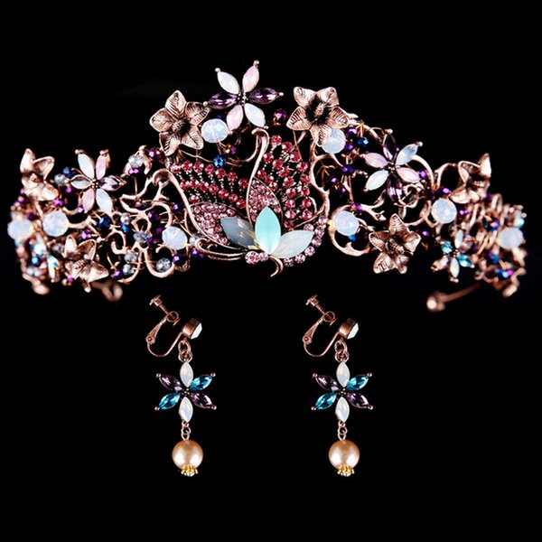 Baroque Vintage Multicolor Rhinestone Crystal Butterfly Flower Crown HeadbandTiara Rhinestone Hair Pageant Prom Women Head Accessories