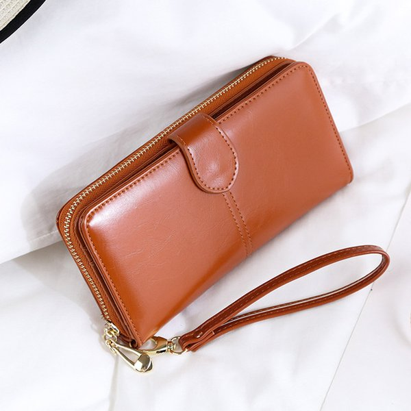 New women 039 wallet oil wax leather retro long wallet large capacity hand bag multi function mobile phone bag, Red;black