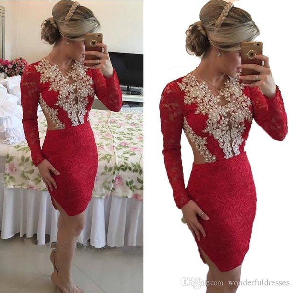 2017 Short Red Prom Dresses Pencil Long Sleeve Applique Pearls Lace Homecoming Party Cocktail Dresses Custom Made