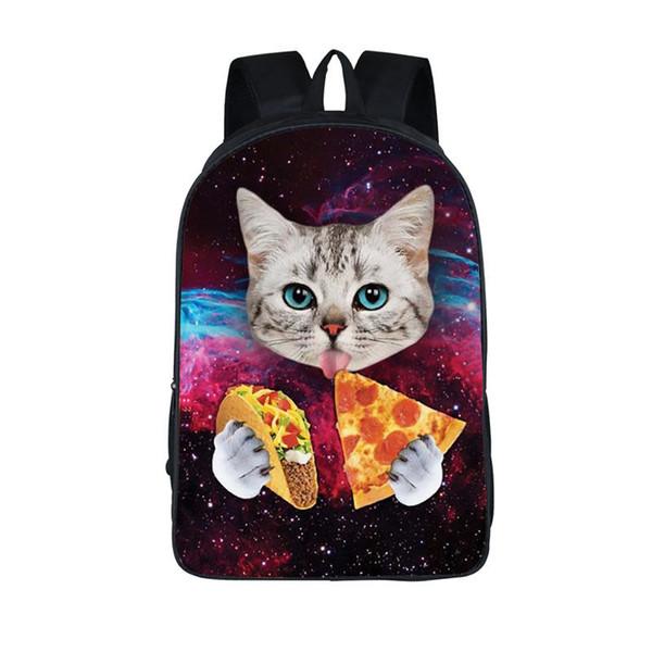 Kawaii 3D Animal Kitten Mochila Cute Cat Eating Tacos Pizza Mochila para niños Mochila para adolescentes Mochilas escolares para adolescentes niñas MX190903