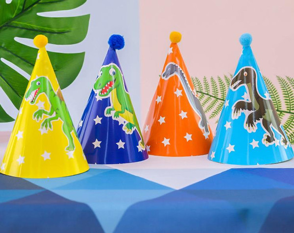 Dinosaurio Fiesta de cumpleaños Cono Sombreros Niños Halloween Navidad Cosplay Fantasía Vestido de papel Gorra de dibujos animados Suministros para eventos Diseños variados