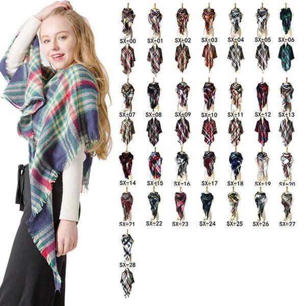 Woman Plaid Triangle Scarf Female Soft Winter Knitting Shawl Fashion Ladies Outdoor Warm Check Pashmina Bandana TTA1606