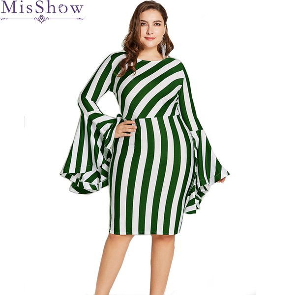 94513667031 New Plus Size Dress Women Striped Autumn Elegant Dresses Red Flare Sleeve  Office Lady Dress Bodycon Party Dresses Vestidos
