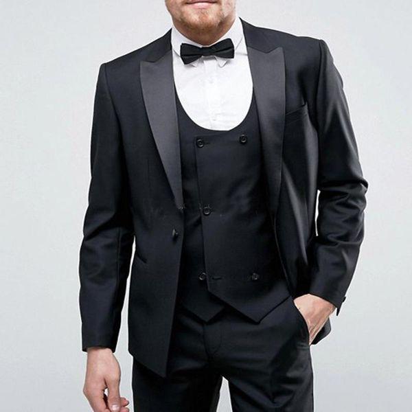 Bräutigam Smoking Groomsmen Peak Revers Neue Ankunft Schwarze Männer Anzüge Hochzeit Prom Best Man Blazer (jacke + Pants + Weste)