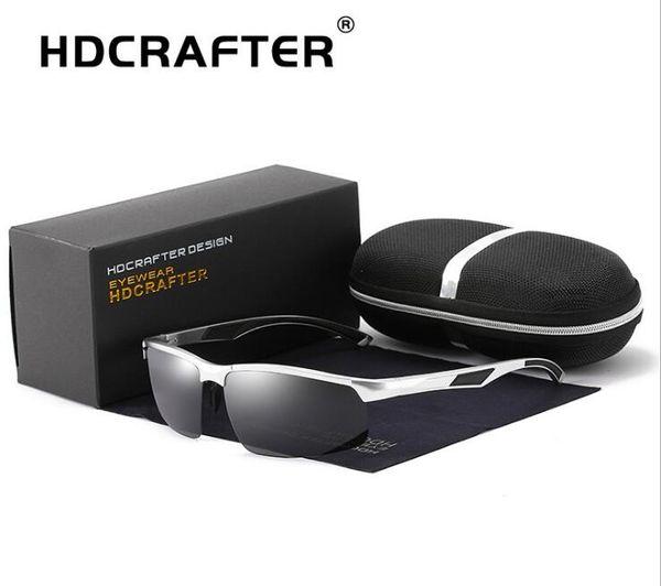 HDCRAFTER Latest design Polarized HD Sunglasses Elegant alloy frame Anti-Glare driving Riding ultraviolet-proof fishing Sunglasses,Gift box