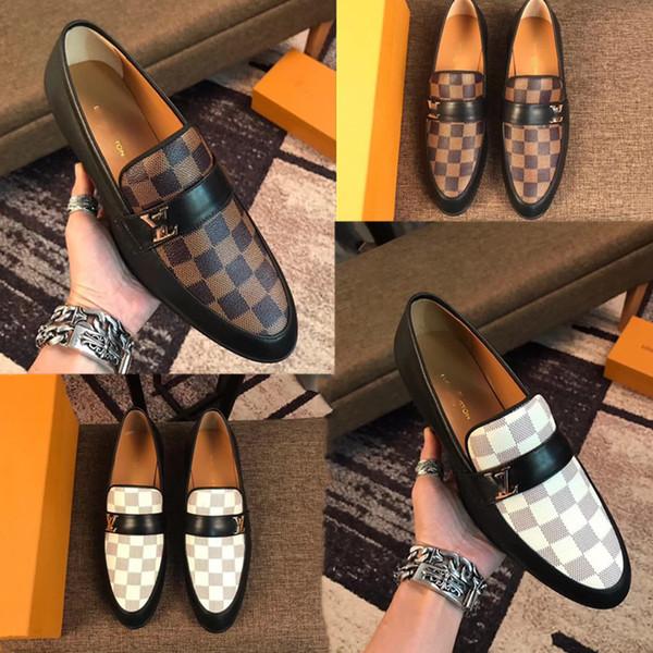2019 yeni varış marka erkekler Düğün ayakkabı yüksek üst hakiki deri moda rahat İş elbise ayakkabı erkekler baskı sneakers orijinal kutusu