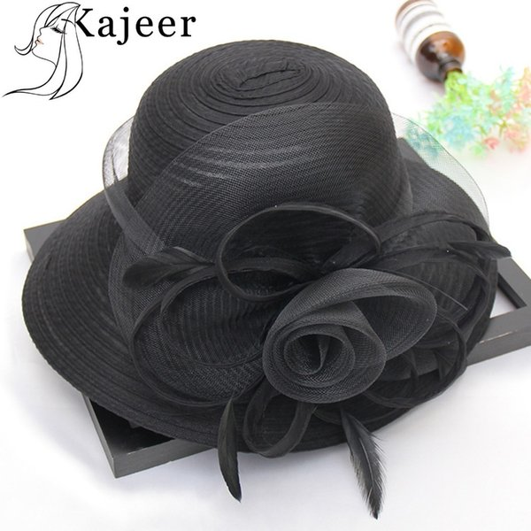 Kajeer Summer Hats For Women Solid Satin Feather Floral Wide Brim Sun Hats Ladies Floppy Hats For Flower Church Tea Party Dress Y19070503