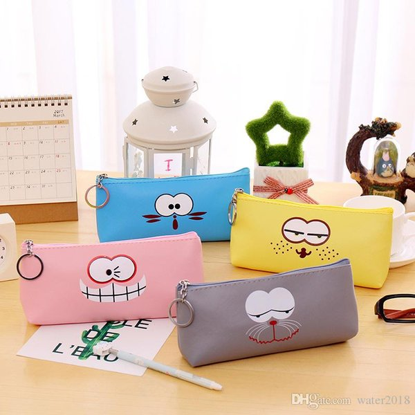 Cute Emoji Pencil Bag Zipper Writing Case Portable Student Stationery Storage Articles Large Capacity Simple Style Free DHL 848