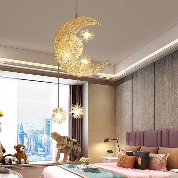 Acheter Lampes Led Plafond Moderne Pendentif Moon Star Lustre Enfants Chambre Lampe Suspendue Decorations De Noel Pour La Maison Luminaire De 108 55