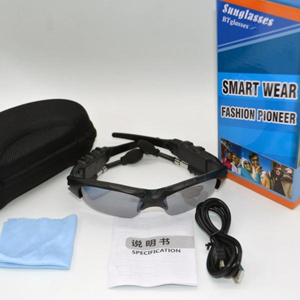 HBS-368 Occhiali da sole Cuffie Bluetooth Occhiali da esterno Auricolari Musica con microfono Cuffie wireless stereo per iPhone Samsung Blue Rainbow