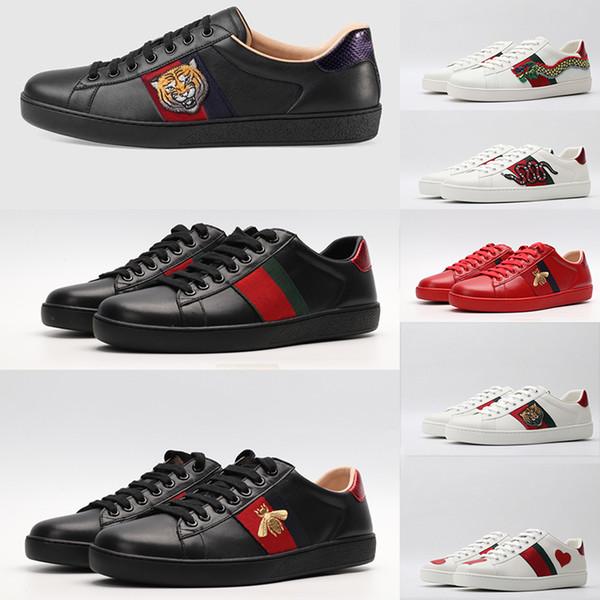 Sapatos pretos para mulheres dos homens ACE BEE Tiger Green Star Red Stripes Luxury Designer Fundo Plano Casual Sneaker Triplo vestido branco Vintage Shoe