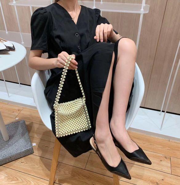 Hot Sale-2019 Spelling Grain Stone Color Sharp Level One Buckle Portare bocca bassa Baotou Back Air Fairy Low con scarpa singola Donna