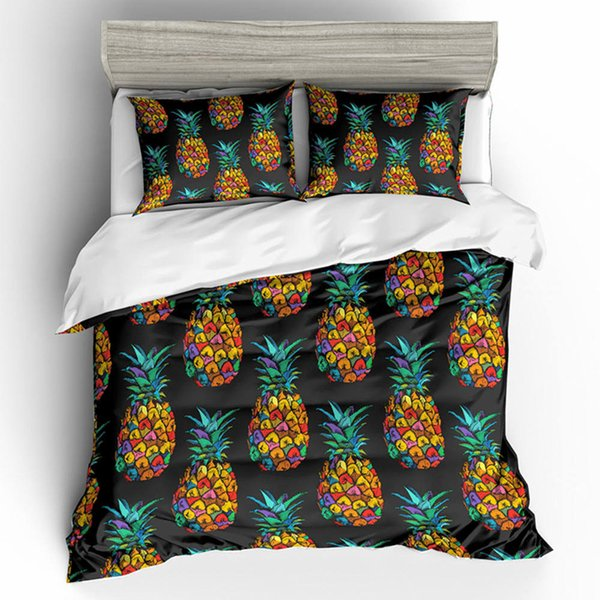 Black Colorful Pineapple Printed Bedding Set Queen Size Creative 3D Duvet Cover King Home Textile Double Single Bed Cover with Pillowcase