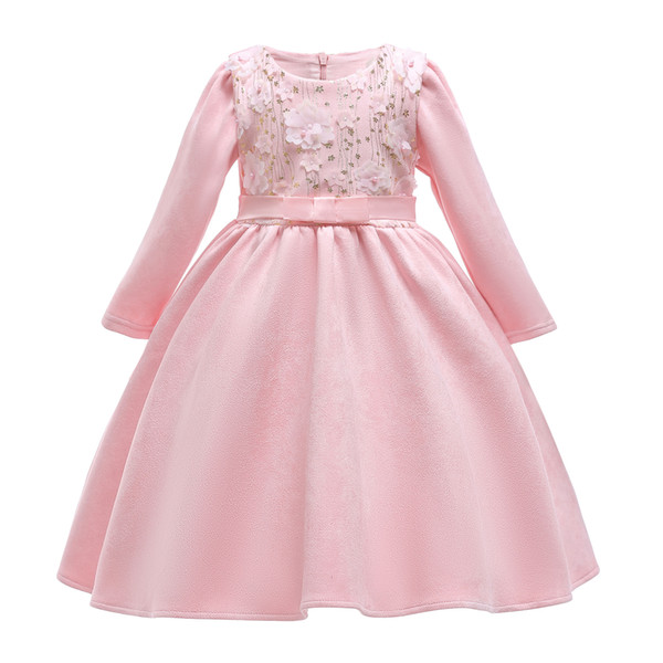 New Flower bowknot Boat Neck Long sleeves Full Satin Lovely Elegant Party Pageant Princess 2-9T Girl Dresses 2886