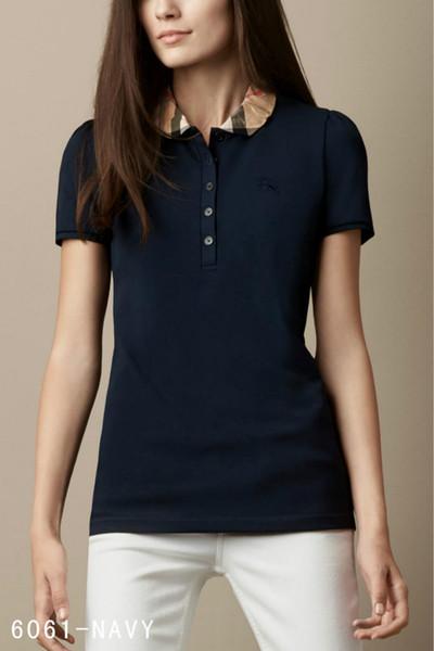 2019 새로운 디자인 여름 패션 영국 여성 격자 무늬 짧은 소매 티셔츠 고품질 100 % 코튼 인쇄 폴로 셔츠 블랙 핑크
