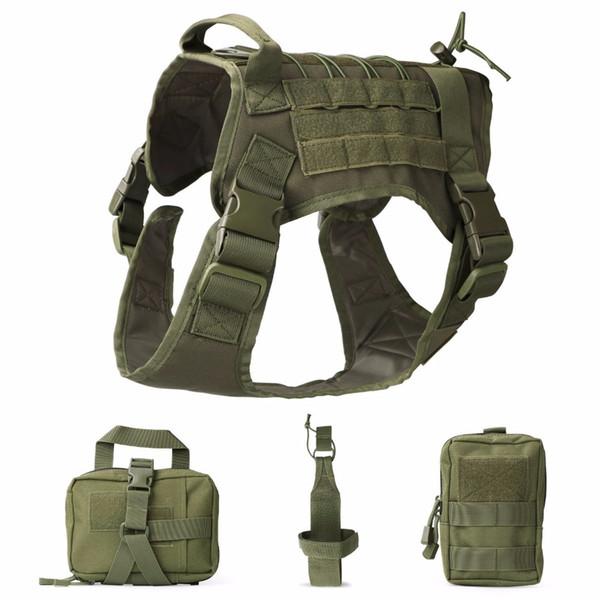 Serviço Tático Dog Modular Harness K9 Trabalho Cannie Caça Molle Vest Com Bolsas Saco E Transportadora Garrafa de Água