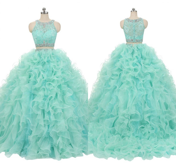 2 Pieces Ruffles Sweet 16 Dresses Ball Gowns 2019 Lace Crystal Beaded Auqa Blue Organza Prom Dress Ball Gown Quinceanera Dresses Cheap